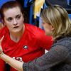 Georgia head coach Lizzy Stemke talks with Georgia's Maddie Lobenstein (13) during the Bulldogs' game with Savannah State at the Ramsey Center in Athens, Ga., on Saturday, August 27, 2016. (Photo by David Barnes)