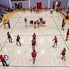 Members of the Georgia volleyball team warm up before the start of the Bulldogs' game with Savannah State at the Ramsey Center in Athens, Ga., on Saturday, August 27, 2016. (Photo by David Barnes)