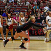 Georgia's Cassidy Anderson (20) bumps the ball during the Bulldogs' game with Savannah State at the Ramsey Center in Athens, Ga., on Saturday, August 27, 2016. (Photo by David Barnes)