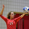 Georgia's Caroline Ostman (21) serves the ball during the Bulldogs' game with Savannah State at the Ramsey Center in Athens, Ga., on Saturday, August 27, 2016. (Photo by David Barnes)