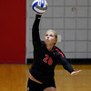 Georgia's Cassidy Anderson (20) serves the ball during the Bulldogs' game with Savannah State at the Ramsey Center in Athens, Ga., on Saturday, August 27, 2016. (Photo by David Barnes)