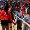 Members of the Georgia and Savannah State volleyball teams congratulate each other after the Bulldogs' game with Savannah State at the Ramsey Center in Athens, Ga., on Saturday, August 27, 2016. (Photo by David Barnes)