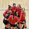 Members of the Georgia volleyball team huddle up during the Bulldogs' game with Savannah State at the Ramsey Center in Athens, Ga., on Saturday, August 27, 2016. (Photo by David Barnes)