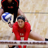 Georgia's Katie Houser (12) bumps the ball during the Bulldogs' game with Savannah State at the Ramsey Center in Athens, Ga., on Saturday, August 27, 2016. (Photo by David Barnes)