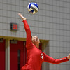 Georgia's Katie Houser (12) serves the ball during the Bulldogs' game with Savannah State at the Ramsey Center in Athens, Ga., on Saturday, August 27, 2016. (Photo by David Barnes)