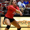 nGeorgia's Caroline Ostman (21) bumps the ball during the Bulldogs' game with Savannah State at the Ramsey Center in Athens, Ga., on Saturday, August 27, 2016. (Photo by David Barnes)