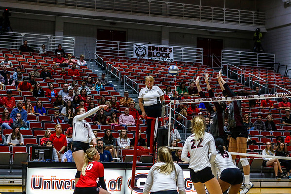 Georgia's Maddie Lobenstein (13) during the Bulldogs' match with Texas A&M at the Ramsey Center in Athens, Ga., on Friday, October 21, 2016. (Photo by John Paul Van Wert)