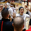 Members of the Georgia volleyball team celebrate after the Bulldogs' game with UNC Asheville at the Ramsey Center in Athens, Ga., on Friday, August 26, 2016. (Photo by David Barnes)