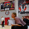 Georgia head coach Lizzy Stemke yells during the Bulldogs' game with UNC Asheville at the Ramsey Center in Athens, Ga., on Friday, August 26, 2016. (Photo by David Barnes)