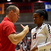 Georgia associate head coach Josh Lauer talks with Georgia's Majesti Bass (19) during the Bulldogs' game with UNC Asheville at the Ramsey Center in Athens, Ga., on Friday, August 26, 2016. (Photo by David Barnes)