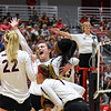 Georgia's Maddie Lobenstein (13) celebrates scoring during the Bulldogs' game with UNC Asheville at the Ramsey Center in Athens, Ga., on Friday, August 26, 2016. (Photo by David Barnes)