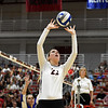 Georgia's Meghan Donovan (22) sets the ball during the Bulldogs' game with UNC Asheville at the Ramsey Center in Athens, Ga., on Friday, August 26, 2016. (Photo by David Barnes)