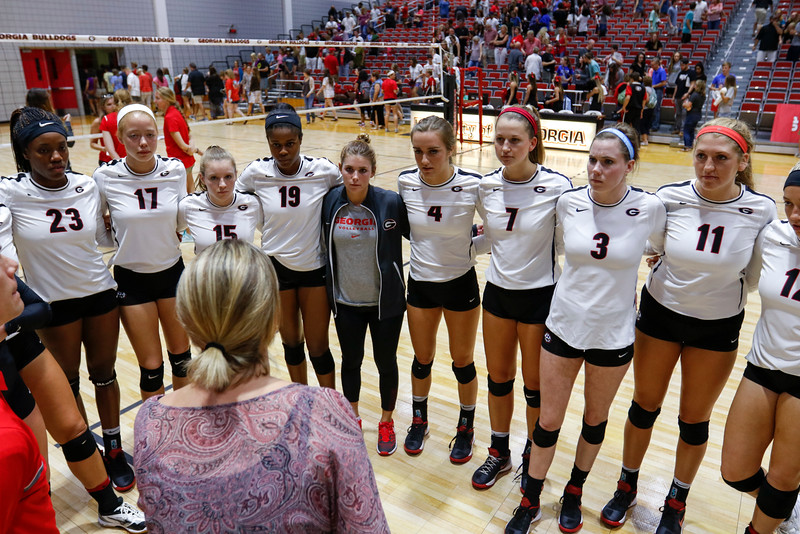 Members of the Georgia volleyball team huddle up after the Bulldogs' game with UNC Asheville at the Ramsey Center in Athens, Ga., on Friday, August 26, 2016. (Photo by David Barnes)