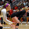 Georgia's Elle McCord (9) waits for the serves during the Bulldogs' game with UNC Asheville at the Ramsey Center in Athens, Ga., on Friday, August 26, 2016. (Photo by David Barnes)