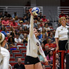 Georgia's Maddie Lobenstein (13) hits the ball during the Bulldogs' game with UNC Asheville at the Ramsey Center in Athens, Ga., on Friday, August 26, 2016. (Photo by David Barnes)