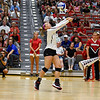 Georgia's Elle McCord (9) bumps the ball during the Bulldogs' game with UNC Asheville at the Ramsey Center in Athens, Ga., on Friday, August 26, 2016. (Photo by David Barnes)