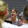 Georgia head coach Lizzy Stemke talks with her team after the Bulldogs' game with UNC Asheville at the Ramsey Center in Athens, Ga., on Friday, August 26, 2016. (Photo by David Barnes)