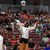 Georgia's Amanda Dachs (2) hits the ball during the Bulldogs' game with UNC Asheville at the Ramsey Center in Athens, Ga., on Friday, August 26, 2016. (Photo by David Barnes)