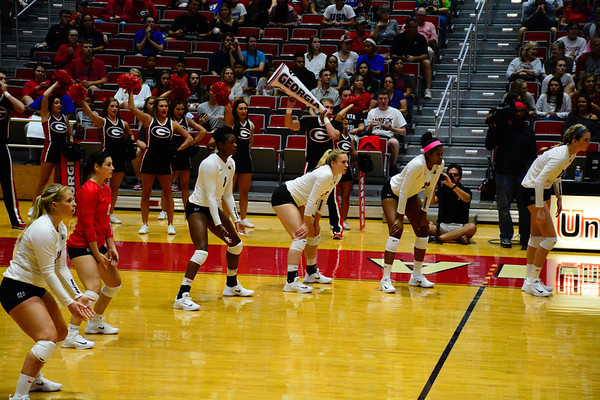Georgia's Cassidy Anderson (20), Kendall Glover (8), T'ara Ceasar (1), Rachel Ritchie (24), Majesti Bass (19), and Meghan Donovan (22) during the Bulldogs' match against Texas Tech. at the Ramsey Student Center in Athens, Ga. on Thursday, Sep. 14, 2017.  (Photo by Caitlyn Tam / Georgia Sports Communication)