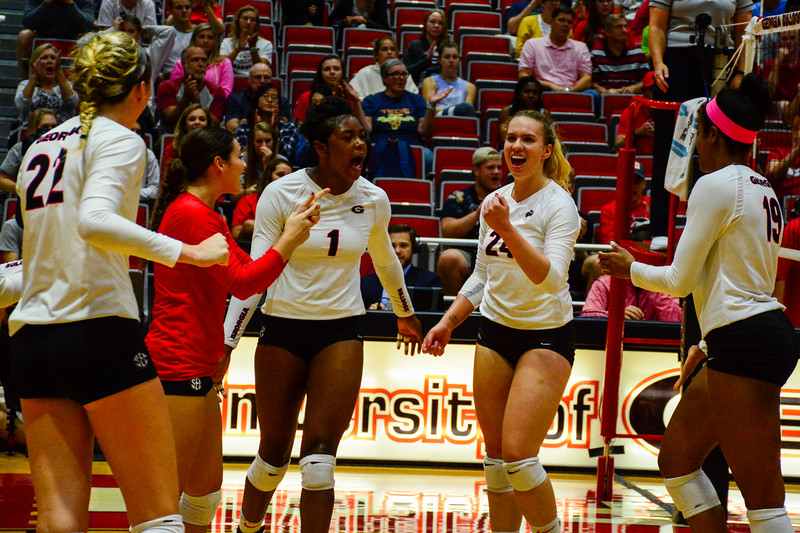 Georgia's Meghan Donovan (22), Kendall Glover (8), Rachel Ritchie (24), T'ara Ceasar (1), and Majesti Bass (19) during the Bulldogs' match against Texas Tech. at the Ramsey Student Center in Athens, Ga. on Thursday, Sep. 14, 2017.  (Photo by Caitlyn Tam / Georgia Sports Communication)
