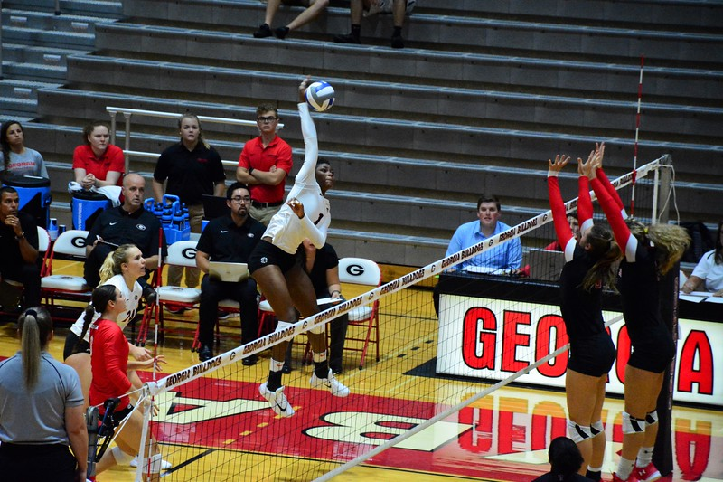 Georgia's T'ara Ceasar (1) during the Bulldogs' match against Texas Tech. at the Ramsey Student Center in Athens, Ga. on Thursday, Sep. 14, 2017. (Photo by Caitlyn Tam)