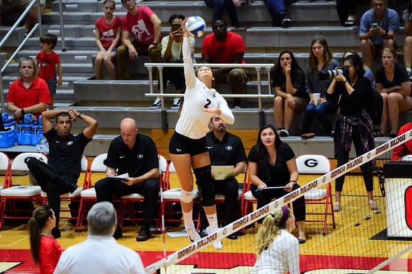 Georgia's Amanda Dachs (2) during the Bulldogs' match against Texas A&M at the Ramsey Student Center in Athens, Ga. on Friday, Sept. 29, 2017. (Photo by Caitlyn Tam / Georgia Sports Communication)