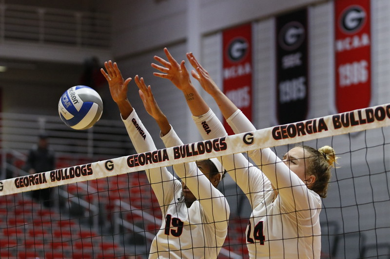 Georgia's Rachel Ritchie (24) and Georgia's Majesti Bass (19) during the Bulldogs' match against Alabama A&M at Ramsey Student Center in Athens, Ga., on Tuesday, Nov. 28, 2017.  (Photo by Steffenie Burns / Georgia Sports Communication)