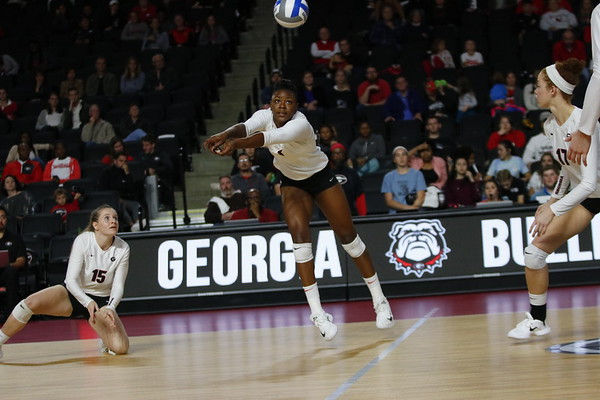 Georgia's T'ara Ceasar (1) during the Bulldogs' volleyball match against Arkansas at Stegeman Coliseum in Athens, Ga., on Wednesday, Oct. 25, 2017.  (Photo by Steffenie Burns/ Georgia Sports Communication)
