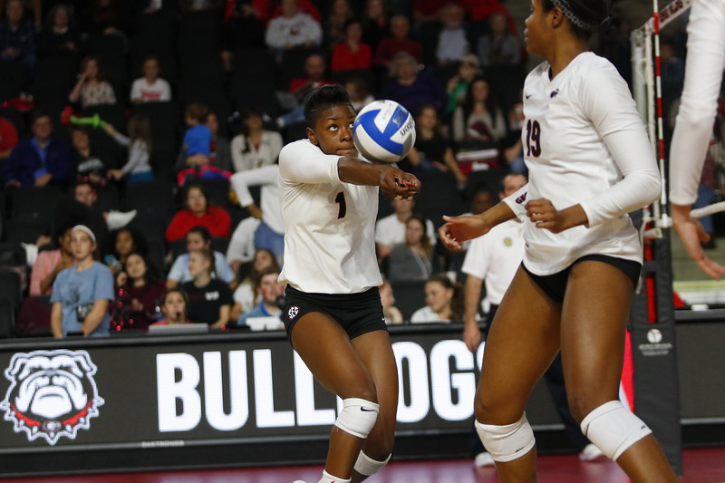 Georgia's T'ara Ceasar (1) during the Bulldogs' volleyball match against Arkansas at Stegeman Coliseum in Athens, Ga., on Wednesday, Oct. 25, 2017.  (Photo by Steffenie Burns / Georgia Sports Communication)