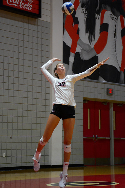 Georgia's Meghan Donovan (22) during the Bulldogs' game against George Mason at the Ramsey Student Center in Athens, Ga. on Friday, Aug. 25, 2017.  (Photo by Caitlyn Tam / Georgia Sports Communication)