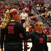 Georgia's Anna Kate Karstens (11) and Georgia's Sydney Gilliam (15) during the Bulldogs' volleyball match against Georgia Tech at the Ramsey Student Center in Athens, Ga. on Friday, Sept. 15, 2017. (Photo by Steffenie Burns)