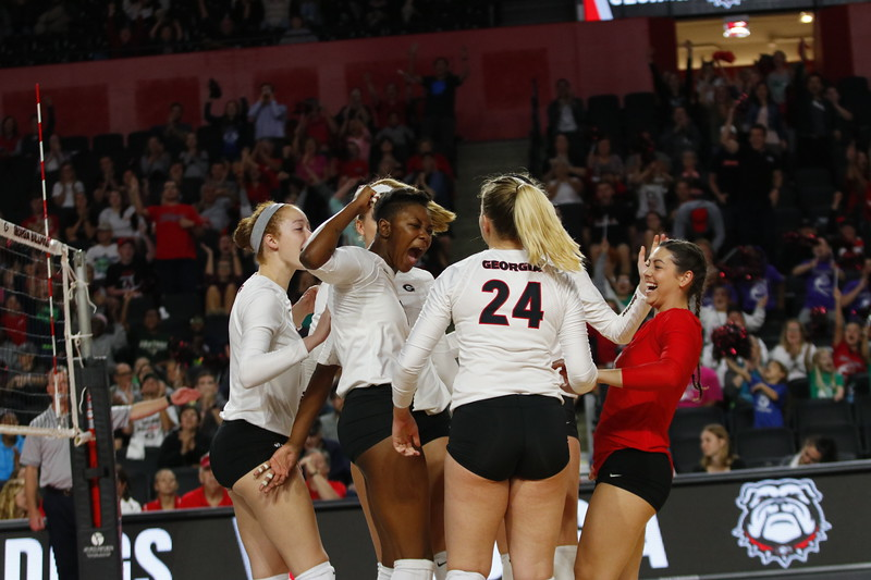 Georgia's T'ara Ceasar (1) and team during the Bulldogs' volleyball match against Mississppi State at Stegeman Coliseum in Athens, GA on Friday, Nov. 3 2017.  (Photo by Steffenie Burns / Georgia Sports Communication)