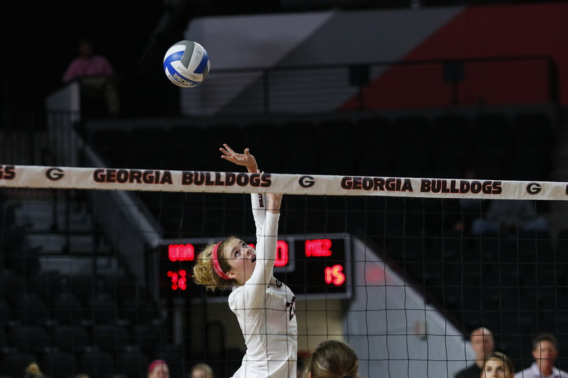 Georgia's Meghan Donovan (22) during the Bulldogs' volleyball match against Missouri at Stegeman Coliseum in Athens, Ga., on Sunday, Oct. 29, 2017.  (Photo by Steffenie Burns / Georgia Sports Communication)