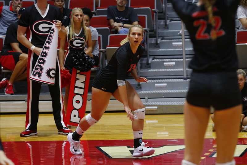 Rachel Ritchie (24) during the Bulldogs' game against Presbyterian at Ramsey Student Center in Athens, GA, on Friday, 08/25/2017.  - UGA Volleyball Team -  (Photo by Steffenie Burns / Georgia Sports Communication)