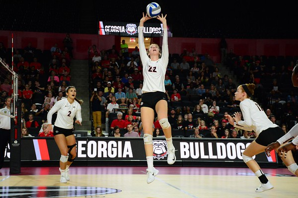 Georgia's Meghan Donovan (22) during the Bulldogs' game against Tennessee at Stegeman Coliseum in Athens, Ga. on Wednesday, Oct. 11, 2017. (Photo by Caitlyn Tam/ Georgia Sports Communication)