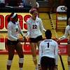 Georgia's Majesti Bass (19), Meghan Donovan (22), Cassidy Anderson (20), and T'ara Ceasar (1) during the Bulldogs' match against Auburn at the Ramsey Student Center in Athens, Ga. on Sunday, Sept. 24, 2017. (Photo by Caitlyn Tam)