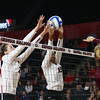 Georgia's Majesti Bass (19) and Georgia's Meghan Donovan (22) during the Bulldogs' volleyball match against Mississippi State at Stegeman Coliseum in Athens, Ga., on Friday, Nov. 3, 2017. (Photo by Steffenie Burns)