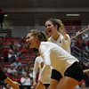 Georgia's Kendall Kazor (70, Georgia's Meghan Donovan (22) and team during the Bulldogs' volleyball match against Ole Miss at Ramsey Student Center in Athens, Ga., on Friday, Nov. 10 2017. (Photo by Steffenie Burns)