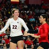 Georgia's Meghan Donovan (22) and Kendall Glover (8) during the Bulldogs' game against Tennessee at Stegeman Coliseum in Athens, Ga. on Wednesday, Oct. 11, 2017. (Photo by Caitlyn Tam)