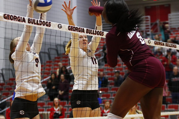 Georgia's Anna Kate Karstens (11)  and Georgia's Dalaney Hans (9) during the Bulldogs' match against Alabama A&M at Ramsey Student Center in Athens, Ga., on Tuesday, Nov. 28, 2017. (Photo by Steffenie Burns)
