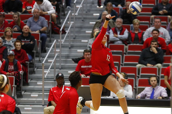 Georgia's Katie Houser (12) during the Bulldogs' match against UCF at Ramsey Student Center in Athens, Ga., on Wednesday, Nov. 29, 2017. (Photo by Steffenie Burns)