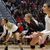 Georgia's Caroline Ostman (21),  Cassidy Anderson (20) and Amanda Dachs (2) during the Bulldogs match against Arkansas at Ramsey Center in Athens, Ga., on Friday, Nov. 18, 2016. (Photo by Cory A. Cole)