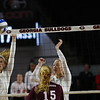 Georgia's Kendall Kazor (7) and Georgia's Kianna Young (17) during the Bulldogs' volleyball match against Mississppi State at Stegeman Coliseum in Athens, Ga., on Friday, Nov. 3 2017. (Photo by Steffenie Burns)