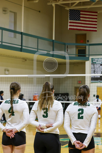 Sep. 09, 2021; Dudley, Massachusetts, USA;  during a non conference matchup between Fisher College and Nichols College. The Falcons won the match 3-2 over the Bison at Nichols Athletics Center. Photo by Foley-Photography.