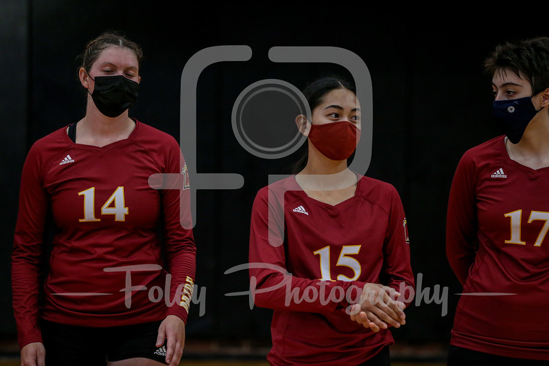 Sep. 01, 2021; Worcester, Massachusetts, USA; Regis College Pride Kamdyn Tenorio (15) during a non conference matchup between Regis College and WPI. The Engineers won 3-0 over the Pride at Harrington Gymnasium. Photo by Foley-Photography.