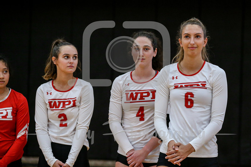 Sep. 01, 2021; Worcester, Massachusetts, USA; WPI Engineers middle hitter Natalia Wierzbicki (6) during a non conference matchup between Regis College and WPI. The Engineers won 3-0 over the Pride at Harrington Gymnasium. Photo by Foley-Photography.