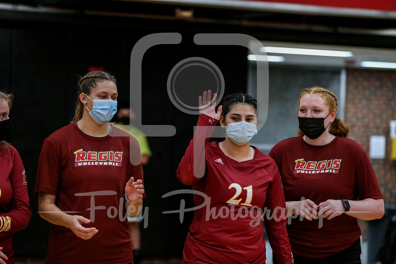 Sep. 01, 2021; Worcester, Massachusetts, USA; Regis College Pride outside hitter Amalia Torres (21) during a non conference matchup between Regis College and WPI. The Engineers won 3-0 over the Pride at Harrington Gymnasium. Photo by Foley-Photography.