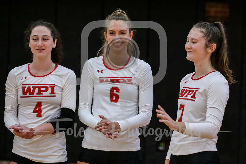 Sep. 01, 2021; Worcester, Massachusetts, USA; WPI Engineers right side hitter Paige Garland (7) during a non conference matchup between Regis College and WPI. The Engineers won 3-0 over the Pride at Harrington Gymnasium. Photo by Foley-Photography.