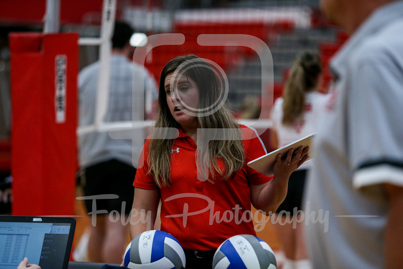 Sep. 01, 2021; Worcester, Massachusetts, USA;  during a non conference matchup between Regis College and WPI. The Engineers won 3-0 over the Pride at Harrington Gymnasium. Photo by Foley-Photography.