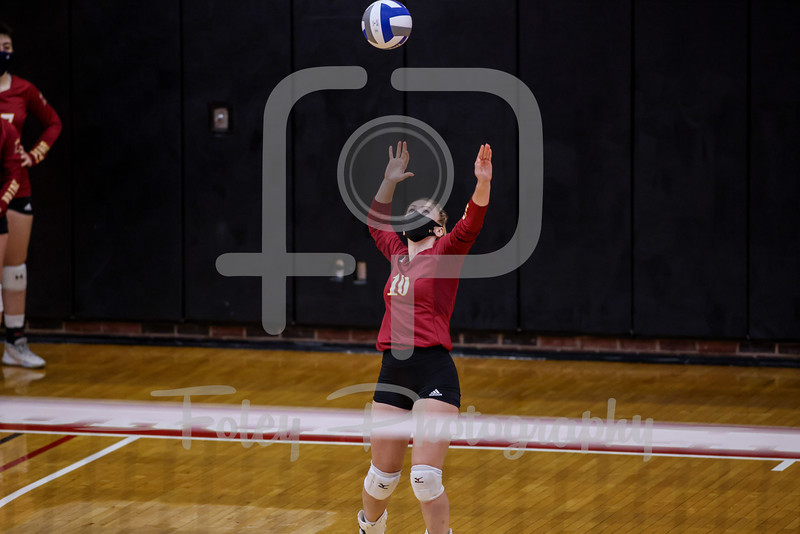 Sep. 01, 2021; Worcester, Massachusetts, USA; Regis College Pride setter Karly Sanborn (10) during a non conference matchup between Regis College and WPI. The Engineers won 3-0 over the Pride at Harrington Gymnasium. Photo by Foley-Photography.